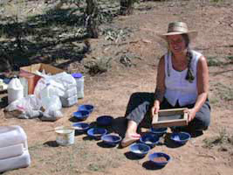 Maggie Remington painting with raw earth materials